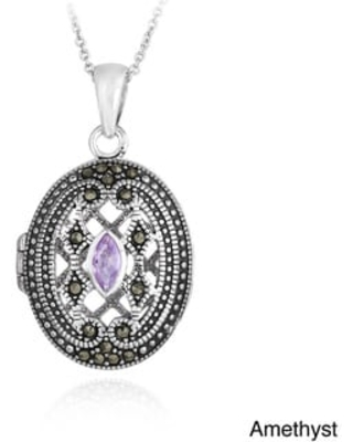 Glitzy Rocks Sterling Silver Gemstone and Marcasite Oval Locket Necklace (February - Amethyst - Purple)