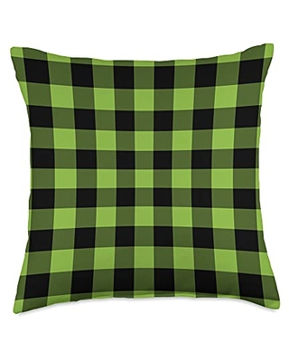 Gray & Gold Publishing Small Gingham Pattern in Black & Green AEV399 Throw Pillow, 18x18, Multicolor