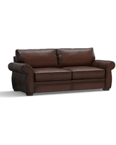 """Pearce Leather Grand Sofa 90"""", Down Blend Wrapped Cushions, Leather Burnished Walnut"""