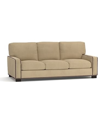 "Turner Square Arm Upholstered Sleeper Sofa 3-Seater 84"" with Memory Foam Mattress & Bronze Nailheads, Polyester Wrapped Cushions, Performance everydaysuede(TM) Light Wheat"