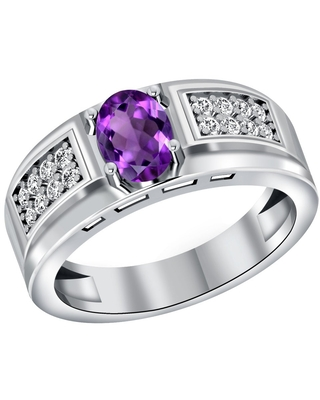 Amethyst, Topaz Sterling Silver Oval, Round Halo Ring By Orchid Jewelry