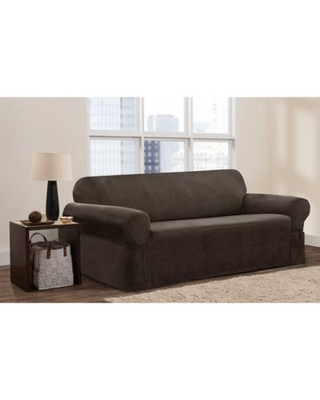 Zenna Home Smart Fit Stretch Suede Sofa Slipcover in Chocolate