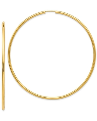 Curata 2mm 14k Yellow Gold Endless Hoop Earrings Jewelry Gifts for Women