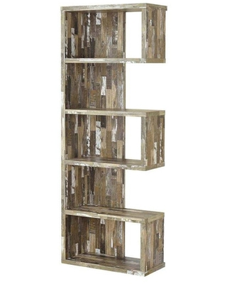 """70.75"""" Modish Wooden Bookcase with Multiple Shelves Gray - Benzara"""