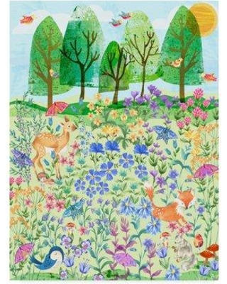 """East Urban Home 'Spring Garden Flat Art' Acrylic Painting Print on Wrapped Canvas EBHV4334 Size: 32"""" H x 24"""" W x 2"""" D"""