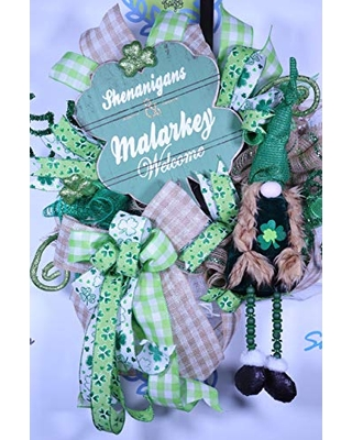St Patricks Day Gnome Wreath, St Pattys Day Decor, Lucky Decor, Shenanigans Welcome, Shamrock Decorations, Four Leaf Clover, Gnome Plush