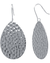 Silver Reflections Silver-Plated Hammered Pear-Shaped Drop Earrings, One Size , No Color Family