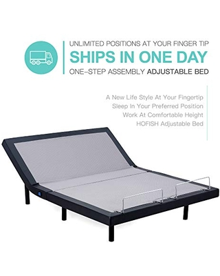 HOFISH Adjustable Bed Base - One-Step Assembly -Dual USB Ports-Wireless Remote-Queen Size