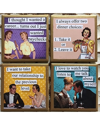 Coasters! Funny quote coasters with gold trim