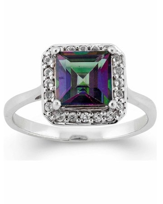 Forever New 2.25 Carat T.G.W. Mystic Green Topaz and White Topaz Sterling Silver Square Halo Ring