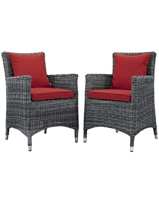 Summon Collection EEI-2313-GRY-RED-SET Set of 2 Outdoor Patio Dining Chairs with Sunbrella Fabric Upholstery Synthetic Rattan Weave and Powder