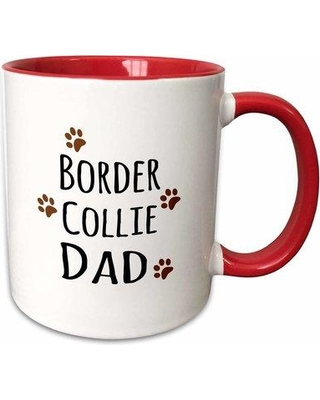 """East Urban Home Border Collie Dog Dad Coffee Mug W000559150 Size: 3.75"""" H x 4"""" W x 3"""" D Color: Red"""