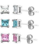 Blue, Pink and Clear CZ Stud Earrings, Set of 3