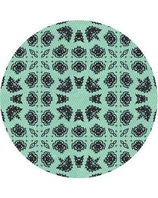 East Urban Home Fancher Wool Light Blue Area Rug X113671462 Rug Size: Round 4'