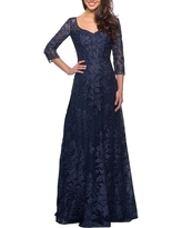 La Femme Floral Embroidered Mesh A-Line Gown, Size 6 in Navy at Nordstrom
