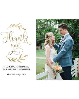 Wedding Thank You 5x7 Cards, Premium Cardstock 120lb with Elegant Corners, Card & Stationery -Wedding Thank You Laurels by Tumbalina