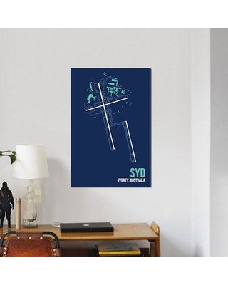 """East Urban Home Airport Diagram Series 'Sydney (Kingsford Smith)' Graphic Art Print on Canvas URBH7155 Size: 40"""" H x 26"""" W x 1.5"""" D"""