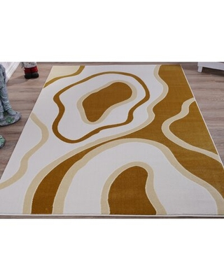 Frison Abstract White/Beige Area Rug