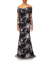 Badgley Mischka Collection Badgley Mischka Off the Shoulder Long Sleeve Lace Trumpet Gown, Size 2 in Navy at Nordstrom