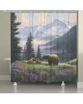 Millwood Pines Stalder Mountain Bear with Cubs Shower Curtain BI027096