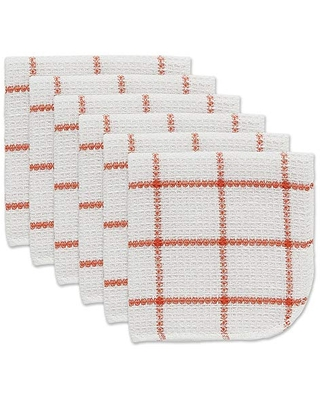 DII Scrubber Dish Cloths Collection Windowpane, 12x12, Spice 6 Count