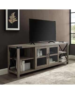 Welwick Designs 70 in. Grey Wash Composite TV Stand Fits TVs Up to 78 in. with Storage Doors