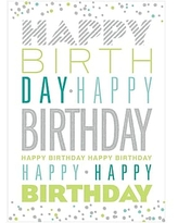 JAM Paper Blank Birthday Cards Set, Birthday Typography with Glitter, 25/Pack (526M0835WB)