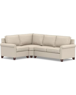 Cameron Roll Arm Upholstered Right Arm 3-Piece Wedge Sectional, Polyester Wrapped Cushions, Textured Twill Khaki