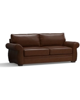 """Pearce Leather Grand Sofa 90"""", Down Blend Wrapped Cushions, Leather Legacy Chocolate"""
