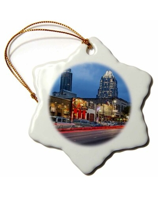 Sixth Street at Dusk in Downtown Austin, Texas, USA Snowflake Holiday Shaped Ornament