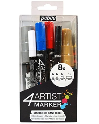 Pebeo 4Artist Marker, Set of 8 Assorted Oil Paint Markers