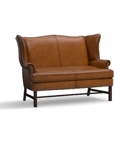 Thatcher Leather Settee, Polyester Wrapped Cushions, Burnished Bourbon