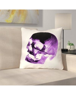 """East Urban Home Skull Throw Pillow with Concealed Zipper URBR7173 Size: 16"""" x 16"""" Color: Purple/Black/White"""