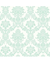 """Canora Grey Metts Damask 32.81' L x 20.5"""" W Wallpaper Roll X113651242 Color: Teal/White"""