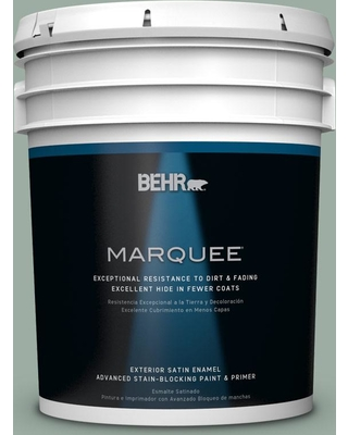 BEHR MARQUEE 5 gal. #N420-3 Misty Moss Satin Enamel Exterior Paint and Primer in One