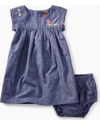Tea Collection Embroidered Chambray Baby Dress