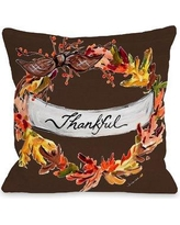 "Gracie Oaks Roncy Thankful Throw Pillow GRKS8254 Size: 16"" x 16"""