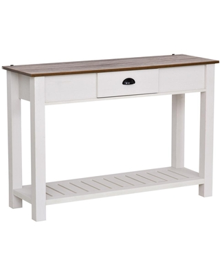 HomCom 47.25 in. White 32 in. H Rectangular Wooden Console Table with Bottom Shelf