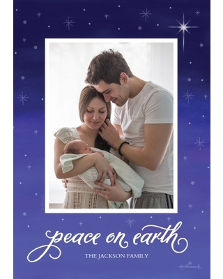 Christmas Photo Cards Flat Matte Photo Paper Cards with Envelopes, 5x7, Card & Stationery -Peace on Earth Star
