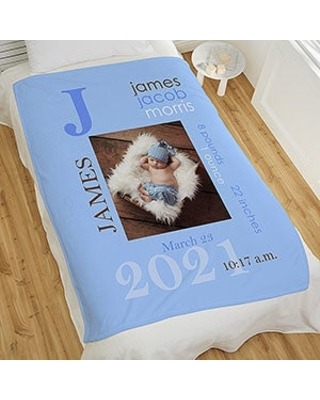 All About Baby Boy Personalized 50x60 Fleece Photo Blanket
