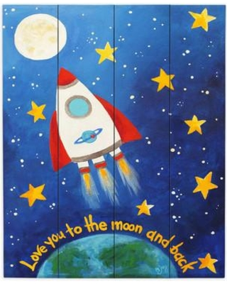 """DiaNocheDesigns Love You to the MoOn Rocket by nJoy Painting Print Plaque WPA-nJoyArtLoveyoutotheMoonRocket Size: 20"""" H x 16"""" W x 1"""" D"""