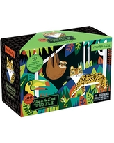 """Mudpuppy Rainforest Glow-in-The-Dark Puzzle, 100 Pieces, 18""""x12"""" –Perfect for Kids Age 5+ - Colorful Illustrations of Rainforest Animals, Birds, Plants and More –Award-Winning Glow in The Dark Puzzle"""
