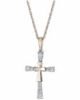 """Diamond Cross 18"""" Pendant Necklace (1/10 ct. t.w.) in 14k Gold - Yellow Gold"""