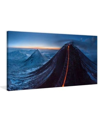 """Marmont Hill 'Kliuchevskaia Night' Painting Print on Wrapped Canvas MH-AIRPANO-24-C- Size: 12"""" H x 24"""" W x 1.5"""" D"""
