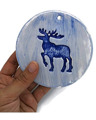 Round Reindeer Christmas Ornaments Handpainted Blue for Tree Decor