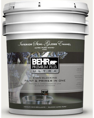 BEHR Premium Plus Ultra 5 gal. #bwc-20 Melting Icicles Semi-Gloss Enamel Interior Paint and Primer in One