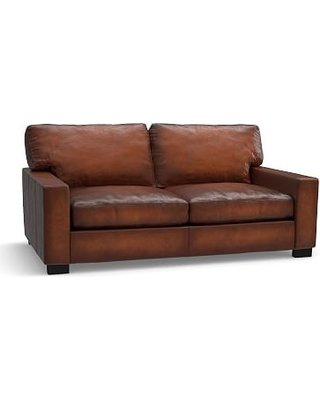 """Turner Square Arm Leather Loveseat 73.5"""", Down Blend Wrapped Cushions, Burnished Saddle"""