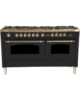 Hallman 60 in. 6 cu. ft. Double Oven Dual Fuel Italian Range True Convection, 8 Burners, Griddle, Bronze Trim in Matte Graphite, Grey