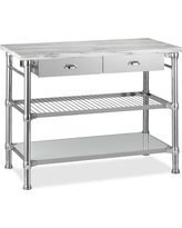 Modular Kitchen Island with Marble Top, Polished Nickel