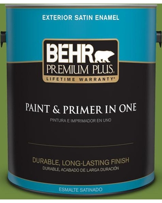 BEHR PREMIUM PLUS 1 gal. #S-H-420 Shamrock Satin Enamel Exterior Paint and Primer in One